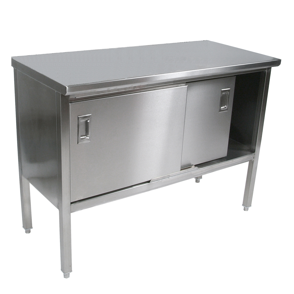stainless steel kitchen table countertop enclosed work tables flat top sliding doors 160 2