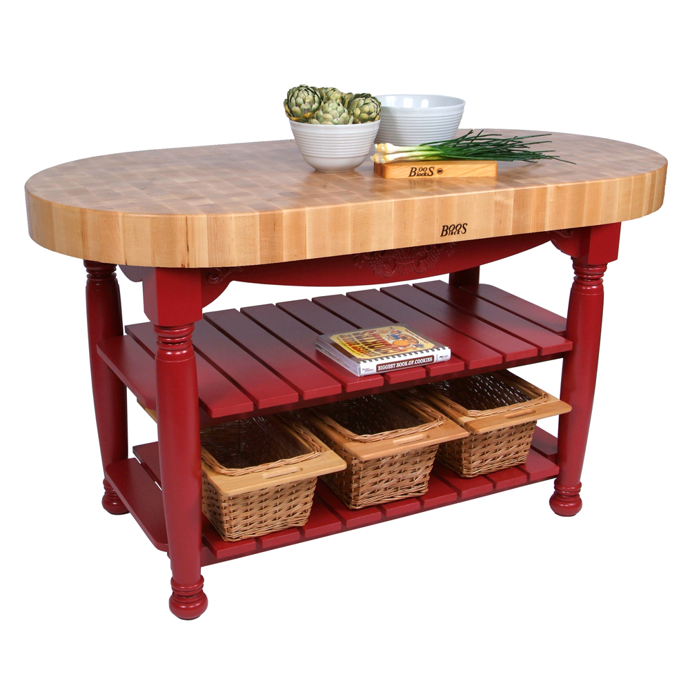 john boos kitchen islands corner cabinet ideas tables oval maple top island with painted cutting boards equipment counter tops