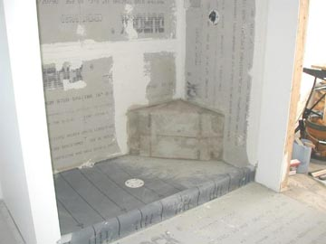 Tiled Shower SeatBench Made from Cement Mortar  Tile