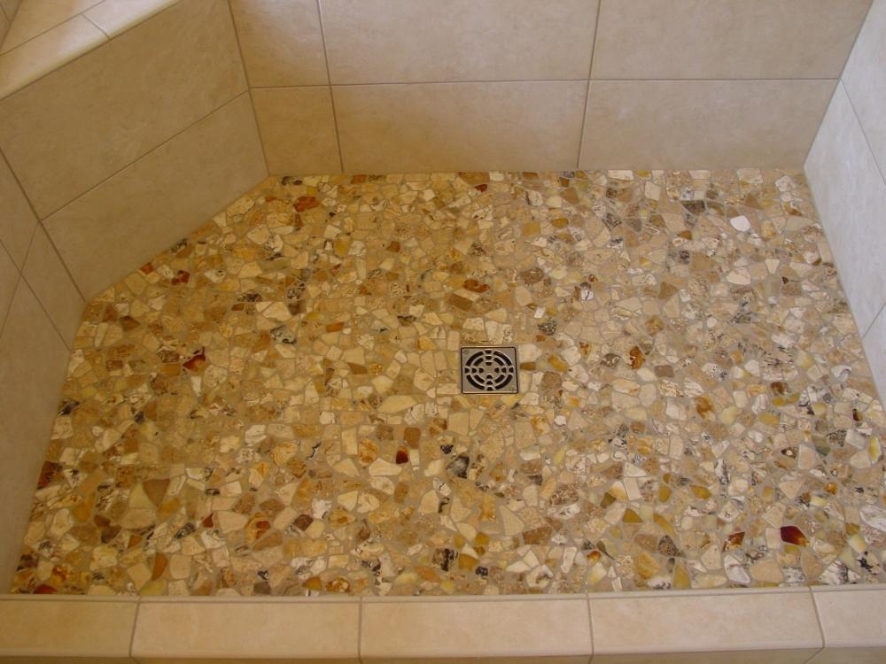 pebble shower floors for tiled showers