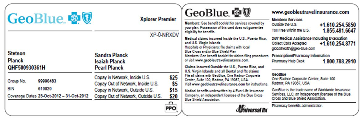 Blue Travel Insurance Card