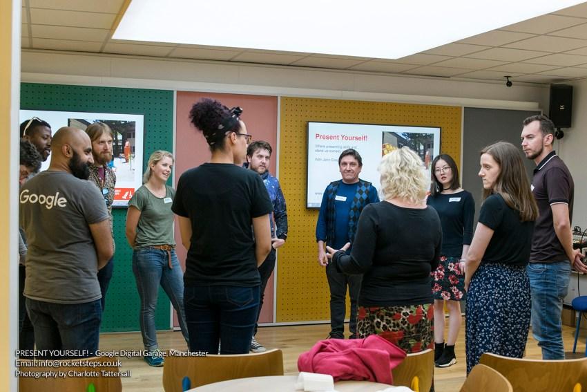 Comedy skills workshop with John Cooper at Google Digital Garage Manchester.