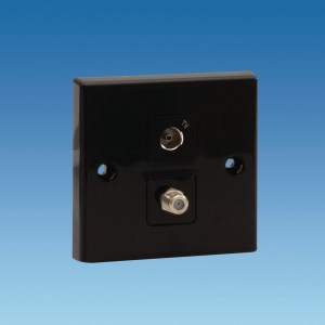 PowerPart PO334 – Black TV & Satellite Socket