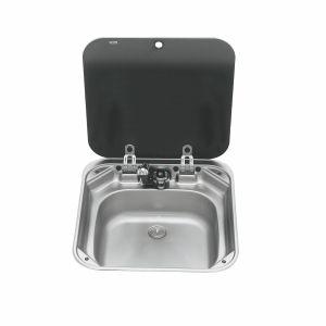 PLS SV2001 – VA8006 Smev Sink Glass Lid inc Drain 39mm Tap Hole