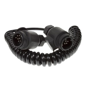 Maypole Connecting Lead – 1.5M 13 Pin 8 Core Curly Cord With 2x 8Pin Plugs – MP5893
