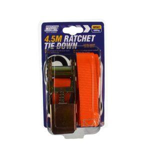 Maypole Ratchet Strap & Hooks 25mm x 4.5M 600kg Gs – MP607