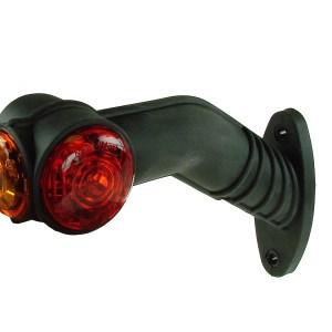 Maypole Lamp – L/H LED 10-30V 45° Red -White -Amber Rubber Stalk Marker Bk – MP7723BL