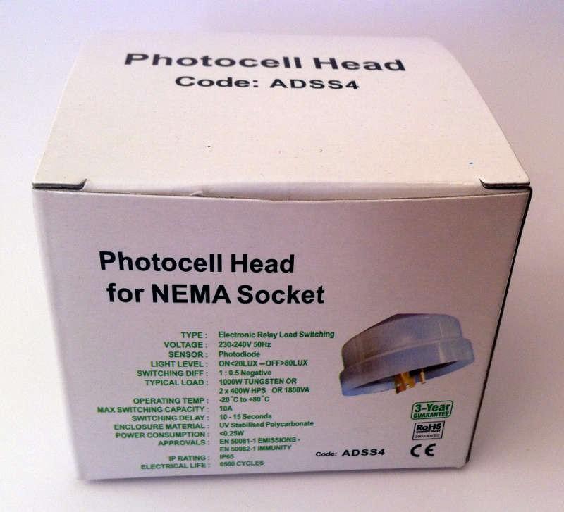 Photocell Head for NEMA Socket ADSS4  John Cribb  Sons