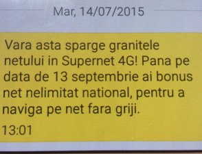 Imagine sms primit de la Vodafone.