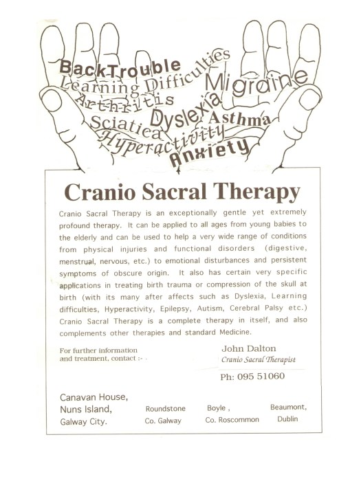 John Dalton Craniosacral Therapy Flyer from 1993