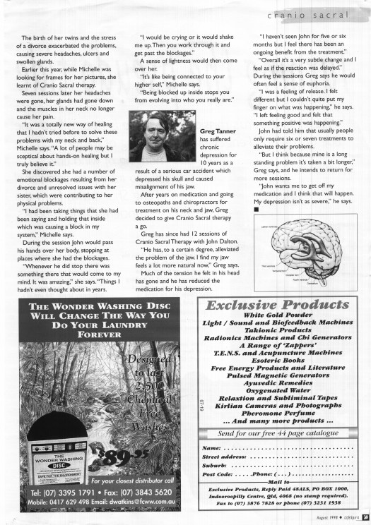 Article about John Dalton and Craniosacral Therapy in Australian magazine LifeSpirit from 1998