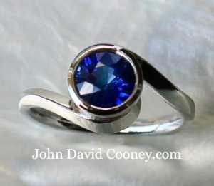 Sapphire round, Platinum ring
