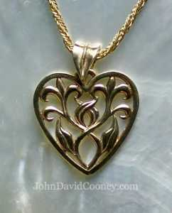 Leaf heart 14K