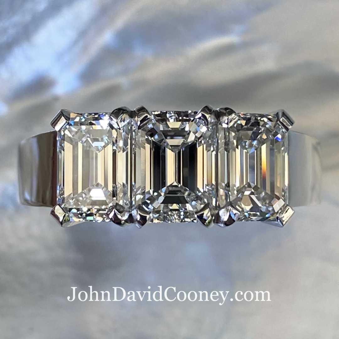 Three GIA VVS Emerald Cut Diamonds