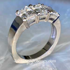 There GIA matched Emerald Cut Diamonds, Platinum ring