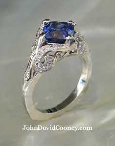 Sapphire, Diamond set in Platinum