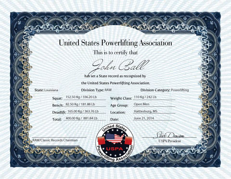 John Ball Record USPA Record - 21 June 2014