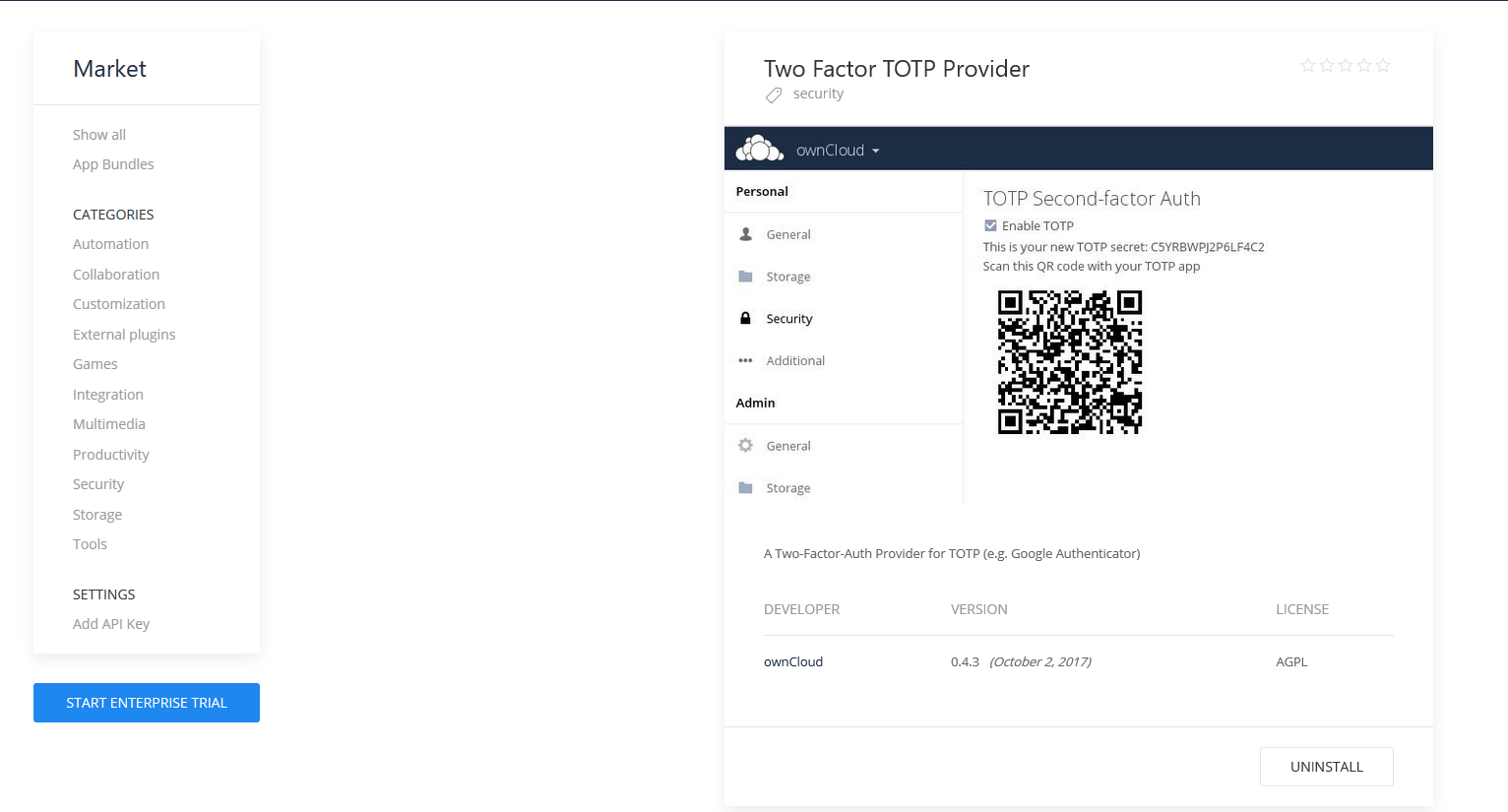 Easily add 2FA to Owncloud 10.0.3
