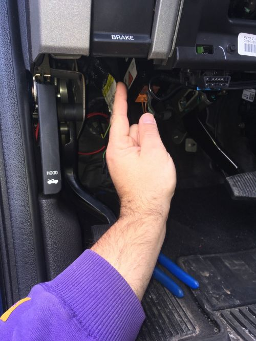 small resolution of upfitter switch wires are above the accessory bundle almost in line with your knee when sitting down they are folded over and hard to see