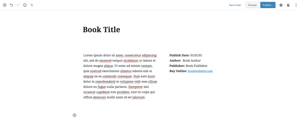 Gutenberg Book Template