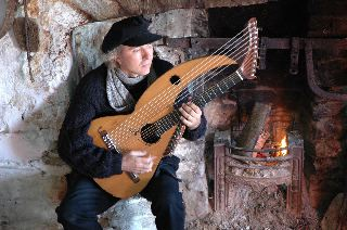John Doan on Aran Isle with his Harp Guitar