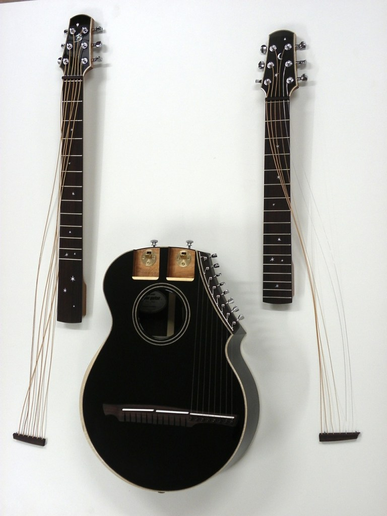 Brunner harp guitar disassembled