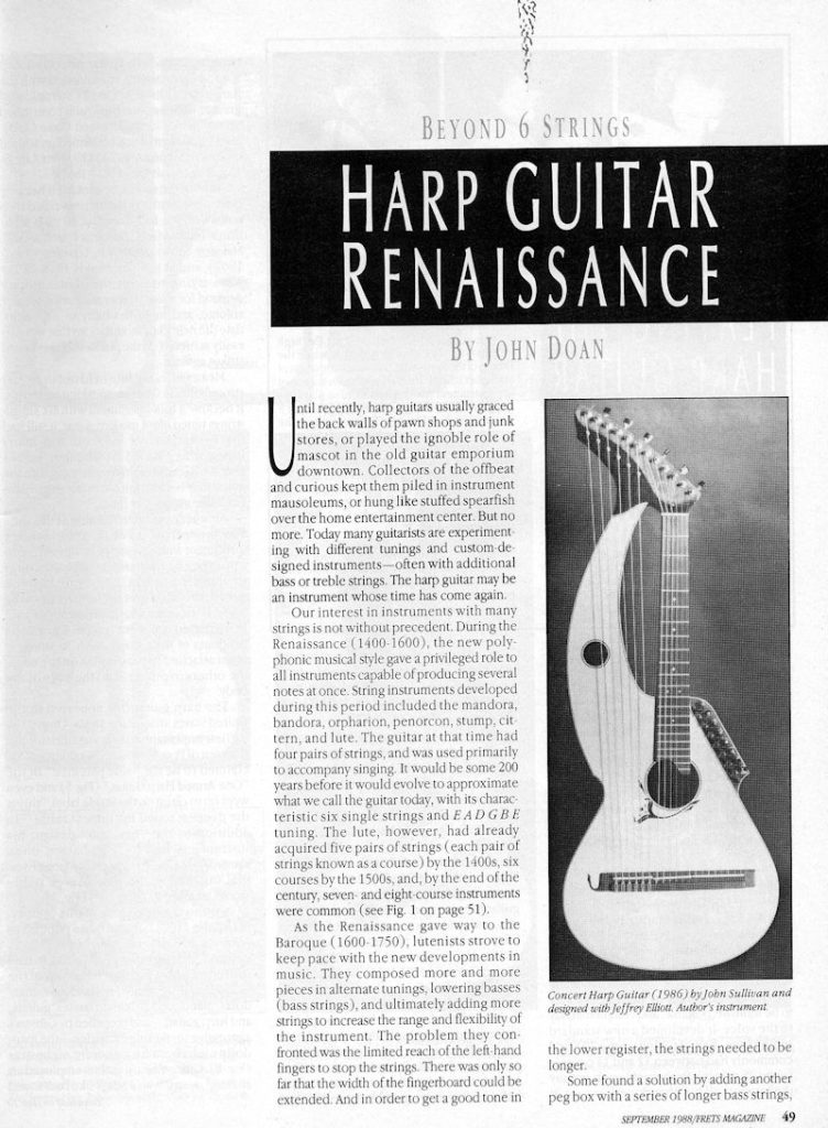 Article by John Doan in Frets Magazine September 1988 on Harp Guitar Renaisance
