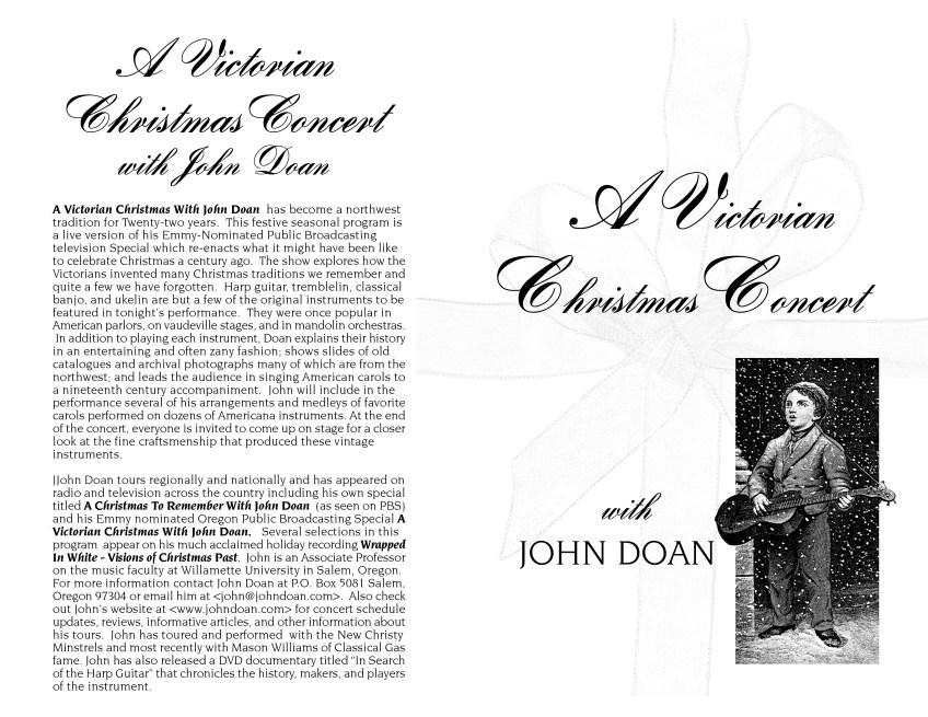 Victorian Christmas Concert Program Page 1