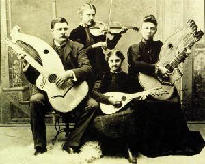 knutsen family portrait with harp guitars history