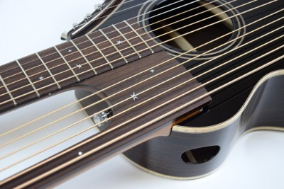 Brunner harp guitar close up of star inlays and side sound port