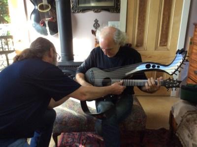 3. Gerry Camp shows John Doan Emerald Harp Guitar