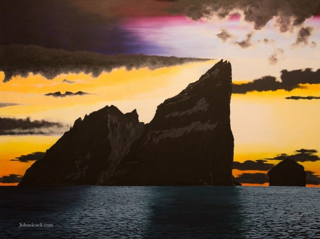 Winter Solstice, Stac An Armin, a painting by John Elcock