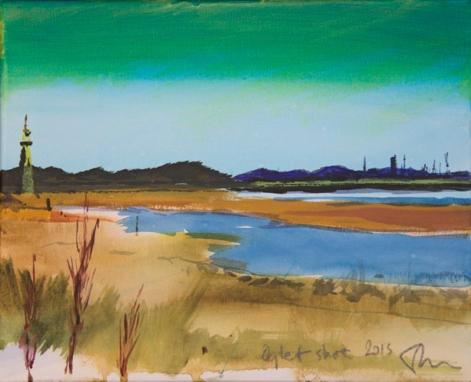 Painting of Oglet Shore near Hale, Liverpool