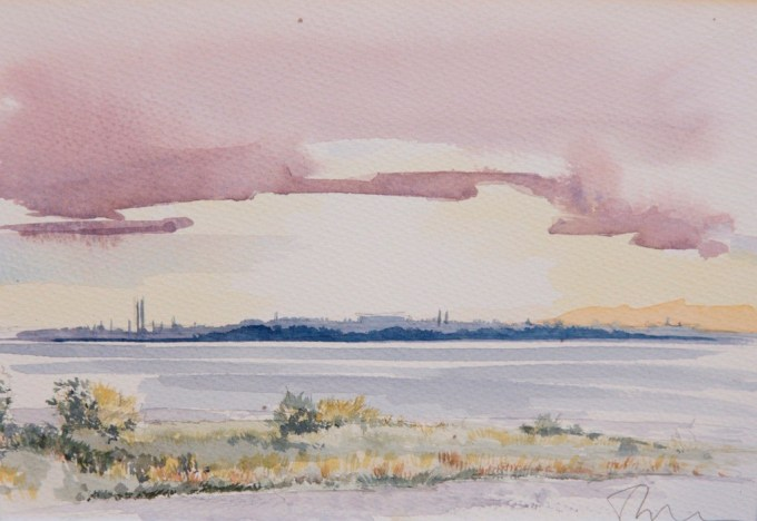 Watercolour view from The Bund at Speke Hall
