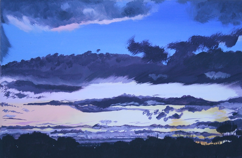 Painting of winter sky over Mossley Hill, Liverpool