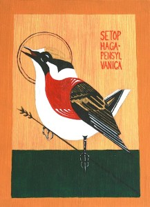 Painting of Setophaga Pensylvanica (Chestnut-sided warbler)