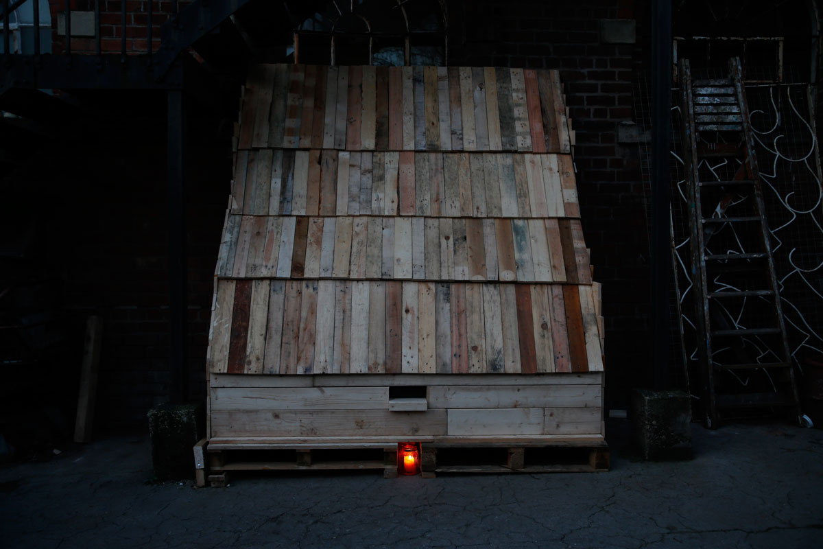Photograph of a modern Anchorite cell constructed as an art installation at The Bridewell Studiios, Liverpool.