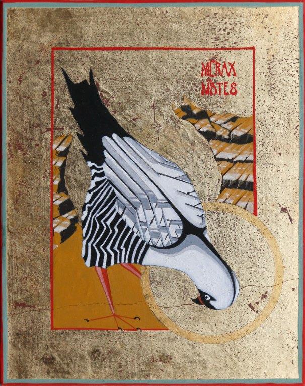 Ikon Painting of a Dark Chanting Goshawk (Melierax metabates)