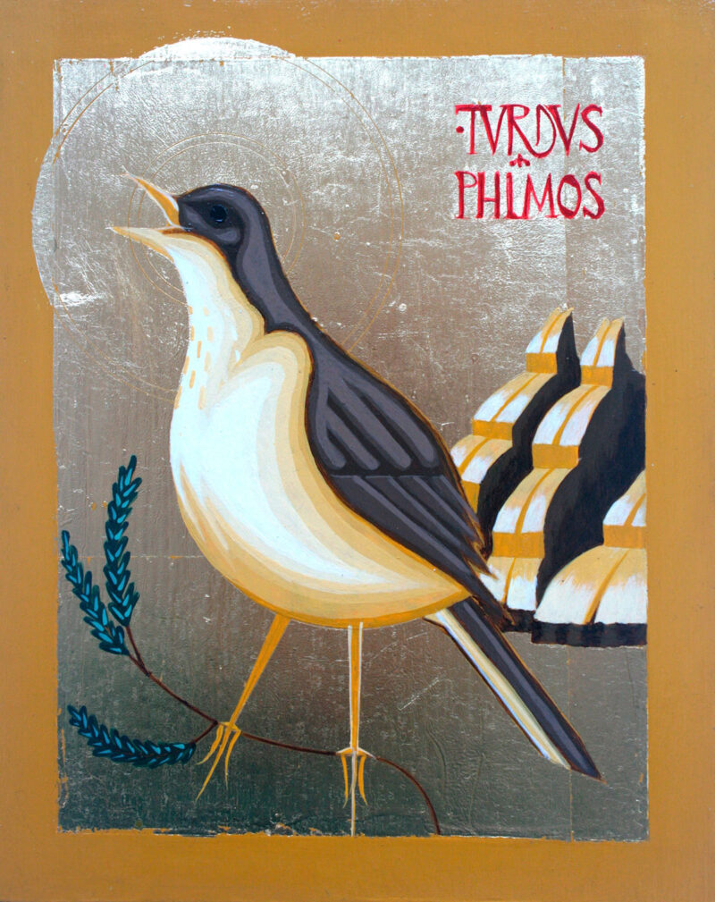 Ikon painting of the Song Thrush, Turdus Philomelos