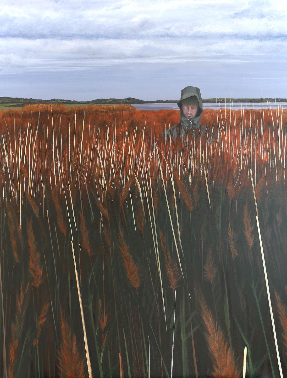 Painting of a bird watcher in Hale Marsh