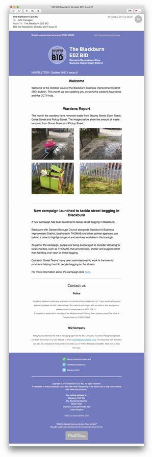 The Blackburn EDZ BID email