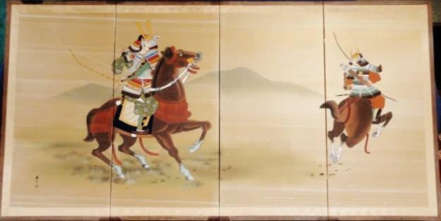 Samurai Warriors on Horseback Byobu