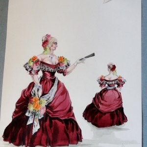 Rachel Mama Felix in red gown. Pen and Ink and Watercolor. From the Rachel Portfolio by Owen Hyde Clark.