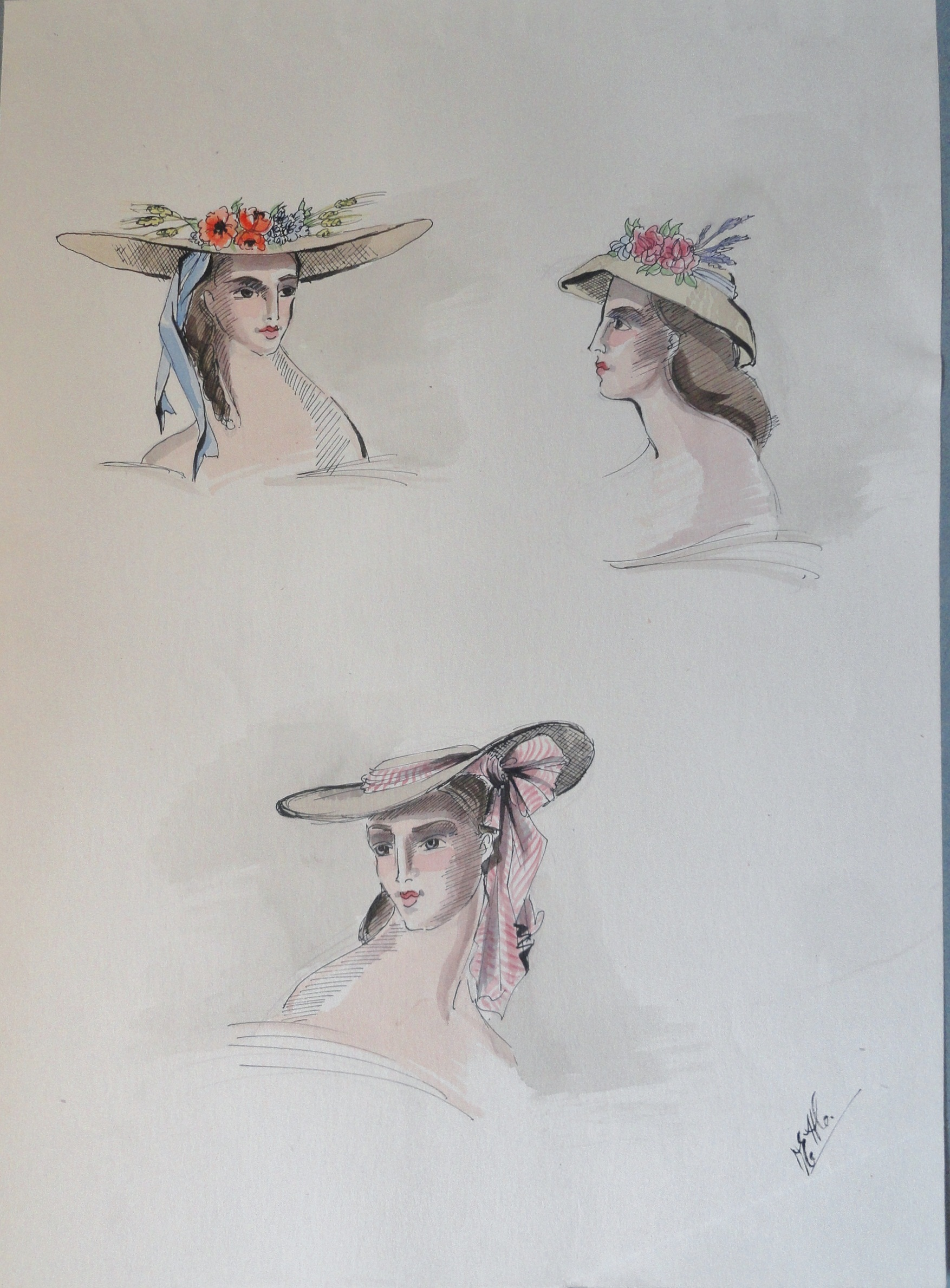 Rachel Felix  three hats. Pen and ink and watercolor. Signed. From the Rachel Portfolio by Owen Hyde Clark.