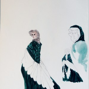 Rachel Felix unsigned study green dress white mid. Pen and ink and watercolor study. Unsigned.  From the Rachel Portfolio by Owen Hyde Clark.