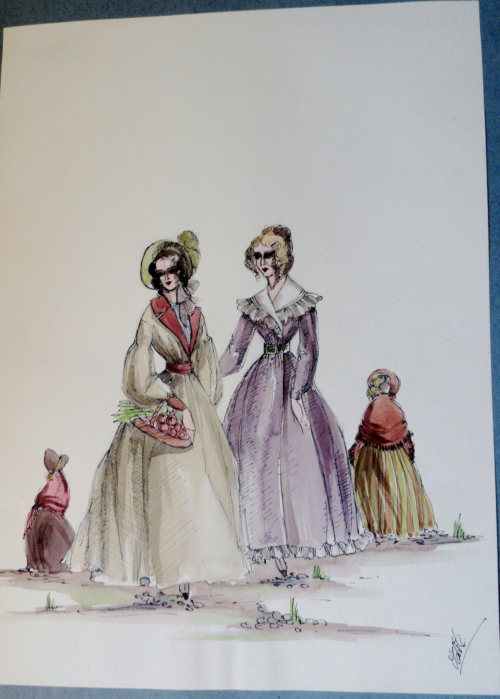 Rachel and her sister in village dress. Pen and Ink and Watercolor. From the Rachel Portfolio by Owen Hyde Clark. $150.00.