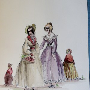 Rachel and her sister in village dress. Pen and Ink and Watercolor. From the Rachel Portfolio by Owen Hyde Clark.