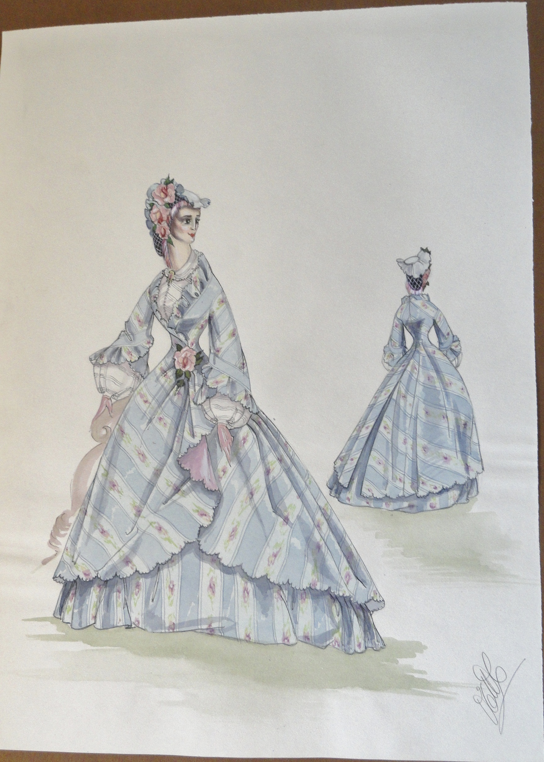 Rachels' sister Annette in a blue striped gown with bonnet. Pen and Ink and Watercolor. From the Rachel Portfolio by Owen Hyde Clark. $300.00.