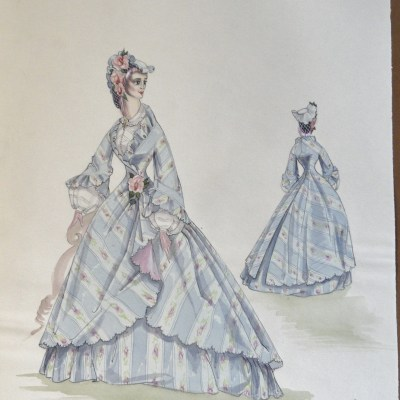Rachels' sister Annette in a blue striped gown with bonnet. Pen and Ink and Watercolor. From the Rachel Portfolio by Owen Hyde Clark.