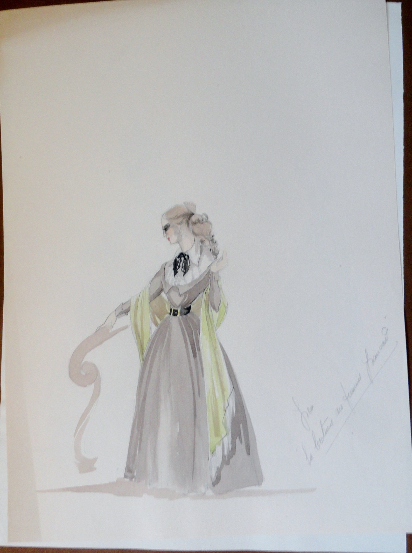 Rachels sister in  brown dress black tie unsigned study with notes. Pen and Ink and Watercolor. From the Rachel Portfolio by Owen Hyde Clark. $100.00.